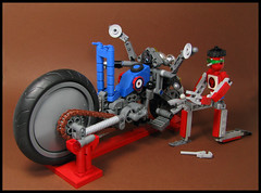 Moron that Silly Bike (Karf Oohlu) Tags: lego moc motorcycle bot droid mecha maintenance bikestand