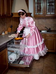 Pink housemaid (blackietv) Tags: maid dress gown pink white satin petticoat ruffles apron tgirl transvestite crossdresser crossdressing kitchen transgender