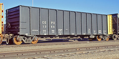 CEPX 1366 all steel high-sided flat bottom coal gondola-Alliance, Nebraska. (Wheatking2011) Tags: cepx all steel highsided flat bottom coal gondola cajun electric power cooperative 35mm slide converted digital image bnsf railroad alliance nebraska october 1998