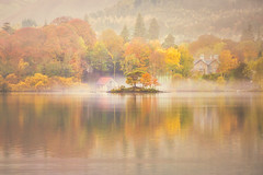 Nestled (Vemsteroo) Tags: lakedistrict cumbria autumn beautiful trees morning sunrise fog mist keswick derwentwater derwent water lake mere canon 5d mkiii 70200mm nature reflection outdoors dawn exploring visitbritain visitengland north fall the lakes