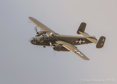 The Mitchell Dips a Wing (Patroller) Tags: painefield skyfair lightroom canon everett washingtonstate sigma150600mm warbirds mitchell b25j