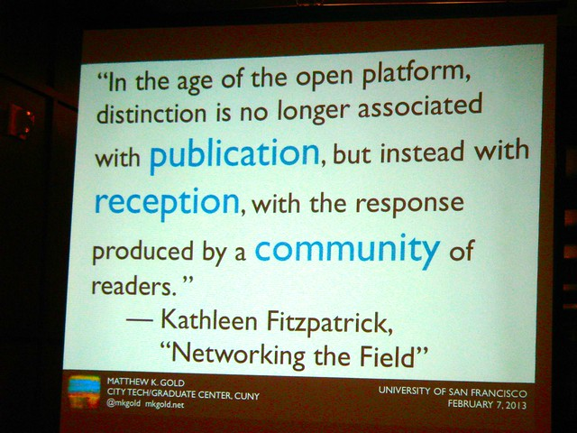 nice quote from kathleen fitzpatrick from matt gold's talk