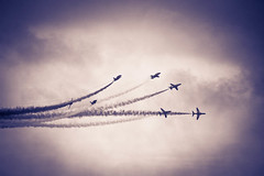 The red arrows flying team. (photogeoff1) Tags: beautiful clouds speed fly flying blackwhite seaside nikon smoke airplanes airshow traveling vapour