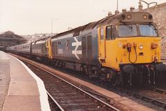 50035 Ark Royal 50007 Sir Edward Elgar  10th March 1985 Penzance (Ian Sharman 1963) Tags: train march diesel royal class edward 10th passenger 50 sir ark 1985 penzance elgar 50007 50035