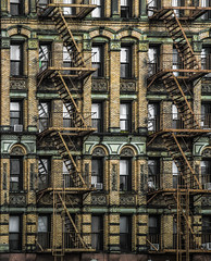 New York Manhattan Fire Escapes (Paul in Leeds) Tags: new york brown building stone architecture stairs fire escape apartment manhattan icon block residential