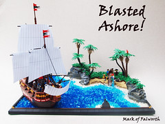 Blasted Ashore! (Mark of Falworth) Tags: ocean sea beach ship lego sails jungle pirate tropical sail warship moc