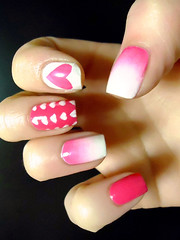 nails (musicteen4life) Tags: pink white love fashion design heart girly patterns makeup style nails faded manicure nailpolish checkered solid girlygirl