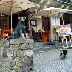 "Restauracja ""Pod Psem"" (Hejma (+/- 4000 faves and 1,3 milion views)) Tags: street sculpture dog stone wall"
