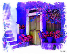 Aprimi La Porta Amore Mio (Peter Solano. Pursuing a dream!) Tags: door flowers blue red plants white house daylight wooden italian rail staris houseplants
