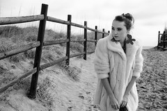 Mackenzie Ellen Brown (lady_alenga) Tags: winter bw art girl beauty fashion fur blackwhite mod fashionphotography earrings artphotography modelportfolio walkonthebeach alenaadamson