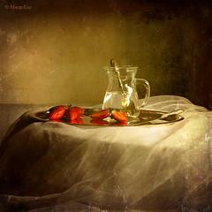Strawberries (MargoLuc) Tags: light red stilllife texture window glass fruit vintage table golden mood natural silverware knife strawberries spoon jug athome alwaysexc