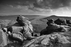 Upper Tor (Paul Newcombe) Tags: uk greatbritain shadow england blackandwhite bw storm monochrome june clouds contrast dark landscape photography sandstone rocks moody derbyshire peakdistrict stormy valley peaks edale gritstone highpeak kinderscout sidelight 2011 ndgrad uppertor breakinglight cokinp tamron1024