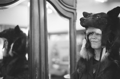 sarah, wolf headdress, mirror (cafemama) Tags: blackandwhite bw film march wolf kodak taxidermy kodaktrix bandw shootfilm 2013 sooc stealingtime sarahbartell wolfheaddress march2013 stealingtimemag stmrelations