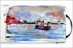 Elbe (rafaelmucha) Tags: moleskine pen ink notebook sketch hamburg sketchbook draw parallel pilot elbe aquarell