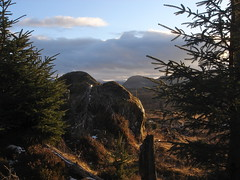 An erratic above Strathnairn (Sibad) Tags: sunset walking highlands boulder invernessshire strathnairn glacialerratic brinrock forestrylandscape