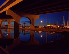 Jacksonville Beach, FL  Bridge 040 (VinceFL) Tags: sunset reflection night nikon south noflash nightlight handheld jacksonvillebeachfl ilovedarkphotos structuresofthesouth afsdxnikkor18105mmf3556gedvr nikond7000 southernphotographer vincefl
