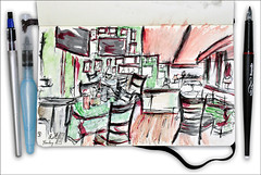 O'Learys Altona, Hamburg (rafaelmucha) Tags: color moleskine sports water bar pen ink notebook sketch cafe sketchbook draw altona copic hambur olearys aquarell rotring artpen paralell