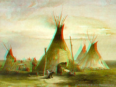 2D - 3D Conversion of Sioux Teepee by Karl Bodmer (1833) (ThroughView) Tags: painting 3d conversion indian anaglyph stereo teepee sioux 1833 redcyan 2d3d bodmer