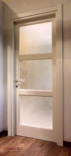 Porta interna tre vetri frassino spazzolato