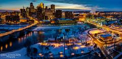 MinneapolisSkyline-1 (Greg Lundgren Photography) Tags: bridge blue winter panorama snow green minnesota skyline skyscraper river mississippi dark lights twilight cityscape minneapolis riverfront twincities 3rdavenue metrodome nicolletisland hennepinavenue greglundgren targetfield