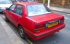 1986 NISSAN SUNNY SLX AUTO (Yugo Lada) Tags: auto old red london cars car photo nice pin nissan sunny retro pim parked 1986 rare pimlico slx d160rgc