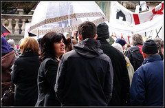 One brolly for both (* RICHARD M (Over 8.5 MILLION VIEWS)) Tags: street rain liverpool umbrella demo candid demonstration umbrellas raining protests crowds brolly protesters victoriamonument merseyside brollies thecuts gamp wetweather derbysquare welfarereforms demonstartors benefitcuts bedroomtax bedroomtaxprotests