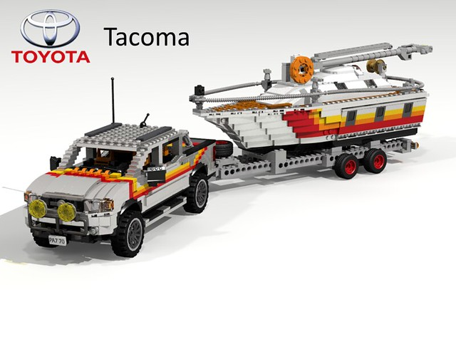 auto car model lego 4x4 yacht render cab stripe 4wd utility pickup double toyota tacoma custom tow challenge cad lugnuts povray moc 65th ldd miniland lego911 toyotatacomatime