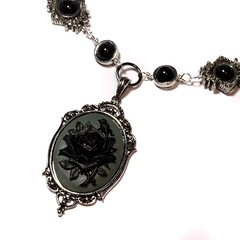 Steampunk Goth Jewelry - Necklace - Grey and Black Rose Cameo - Black Onyx (Catherinette Rings Steampunk) Tags: