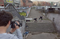 Skateboarding For You Tube (/Reality Scanner/) Tags: city urban test sport youth digital germany deutschland flying stair mood action hamburg skating young treppe reality boardwalk gr hip moment documentation filming mitte ricoh generation stimmung decisive jugend handson videography youtube dokumentation realitt