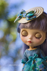 dioresque (JennWrenn) Tags: floral hat fashion doll handmade silk straw monica frock blythe