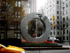 Silver Building Sculpture Attacking Itself Art 8531 (Brechtbug) Tags: park street nyc urban sculpture building tower art public by architecture silver circle manhattan no malls bent avenue alexandre median rolling itself attacking bending limits 54th 67th 2013 arrechea