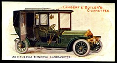 Cigarette Card - Minerva Landaulette, 1908 (cigcardpix) Tags: vintage advertising ephemera automobiles cigarettecards motorcar