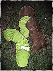 There's a snake in my boot! -Woody ( EkkyP ) Tags: green garden cowboy boots toystory snake wah hereio adamtheadder
