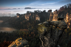 Bastei Misty Morning #2 (MD-Pic) Tags: morning sun mist misty fog pine sandstone rocks nebel foggy kiefer sonne morgen sandstein elbe bastei felsen lilienstein schsischeschweiz knigstein pfaffenstein saxonswitzerland papststein basteibrcke goldenestunde basteibridge goldenhoure
