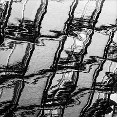 Static (PeteZab) Tags: nottingham uk england urban blackandwhite bw abstract reflection building water monochrome mono pattern line static repeating 2013 canoneos50d petezab peterzabulis sigma1770f284dcmacroos