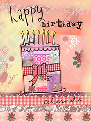 115 NEW STYLE (HELEN PICKUP) Tags: birthday cake vintage happy style card greeting