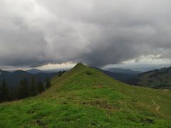 Reached the ridge (aniko e) Tags: rampoldplatte hiking green grass mountains clouds brannenburg bayrischzell summer trekking bavaria bayern bayerischevoralpen bavarianprealps outdoors slope