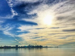 Sunrise in the city (GaryWatson) Tags: humberbridge etobicoke sky sunrise skyline toronto