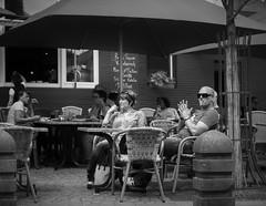 Koblenz Outdoor Cafe (1mpl) Tags: olympusomdem1 germany travelphotography koblenz streetphotography bw monochrome niksilverefexpro
