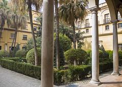 Alcazar Gardens (Hans van der Boom) Tags: europe spain vacation holiday seville sevilla alcazar palace gardens garden columns schrubs trees building hedges sp