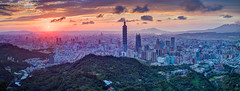 Autumnal Equinox  (Sharleen Chao) Tags: taipei101 skyline landscape skyscraper 101    cityscape city canon canoneos5dmarkiii longexposure building clouds 101 urban nightscene outdoor horizontal nopeople tone night taiwan taipei capitalcity highangle sunset   color dramaticsky partlycloudy panorama  hdr 40mm