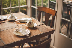 The table is ready (ninasclicks) Tags: table cup chair warmth corner vscocam cozy garden window onthetable