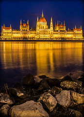 The parliament at blue hour (Vagelis Pikoulas) Tags: budapest buda pest hungary central europe canon 6d january winter 2016 parliament building river dunave rock rocks tokina 1628mm long exposure blue hour night light lights lightroom