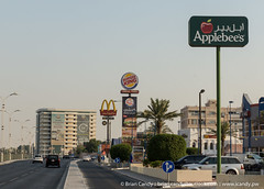 C Ring Fast Food (iCandy Qatar) Tags: applebees burgerking cring doha fastfood mcdonalds qatar sign road qa