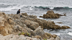 Contemplating the waves (charlottes flowers) Tags: asilomarbeach waves rocks contemplation pacificocean montereycounty ocean beach water