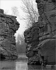 Buki (Yuriy Sanin) Tags: yuriy sanin buki ukraine wistasp 4x5 foma rocks river trees reflection largeformat blackandwhite bw