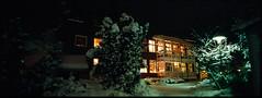 Warmth (Jesper Yu) Tags: winter house snow pine night sweden stockholm hasselblad 100 fujichrome provia xpan bredng
