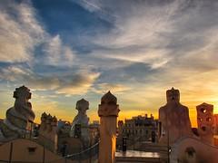 La Pedrera, Barcelona. Gaudi at sunset (Sallyrango) Tags: barcelona city urban sculpture abstract art spain europe urbanart gaudi architcture iconic modernist lapedrera
