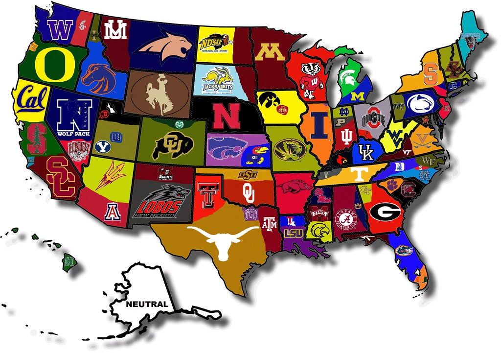 NCAA Fan Map How The Country Roots For College Football The NFL - Map of all us colleges