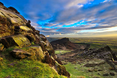The Roaches (stumpyheaton) Tags: uk blue sunset sky green grass clouds landscape nikon rocks day cloudy district peak hills roaches d5100